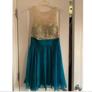Jovani Teal Sequin Homecoming Dress Size 8